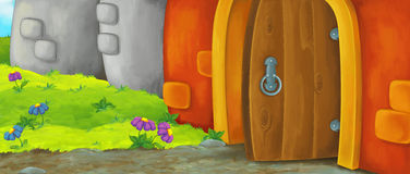 Cartoon happy scene of an old style entrance - stage for different usage Stock Image