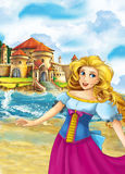 Cartoon happy scene with princess standing on the shore near big shell and some magical things happen - beautiful manga Royalty Free Stock Photos