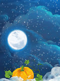 Cartoon happy scene with pumpkin on the some field by night. Happy and colorful traditional illustration for children Stock Images