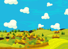 Cartoon happy scene with wooden houses - scene for different usage Royalty Free Stock Image