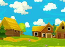 Cartoon happy scene with wooden houses - scene for different usage Royalty Free Stock Photos
