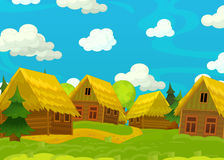 Cartoon happy scene with wooden houses - scene for different usage Royalty Free Stock Photo