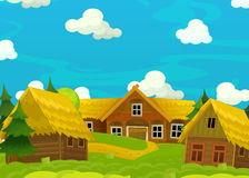 Cartoon happy scene with wooden houses - scene for different usage Stock Photo