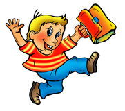 Cartoon happy school boy Stock Image