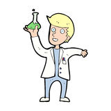 cartoon happy scientist Stock Images