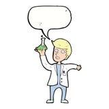 Cartoon happy scientist with speech bubble Stock Image