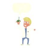 Cartoon happy scientist with speech bubble Stock Photography