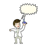 Cartoon happy scientist with speech bubble Stock Photo