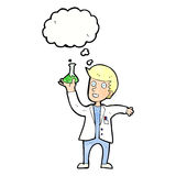 Cartoon happy scientist with thought bubble Royalty Free Stock Images
