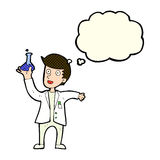 Cartoon happy scientist with thought bubble Stock Photos
