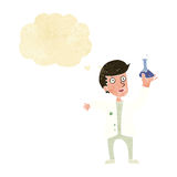 Cartoon happy scientist with thought bubble Royalty Free Stock Photos