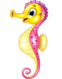 Cartoon happy seahorse isolated on white background Stock Images