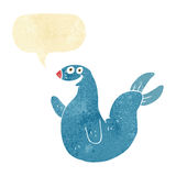 Cartoon happy seal with speech bubble Royalty Free Stock Image