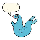 cartoon happy seal with speech bubble Royalty Free Stock Image
