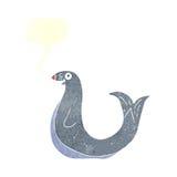 Cartoon happy seal with speech bubble Royalty Free Stock Photography