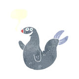 Cartoon happy seal with speech bubble Stock Images