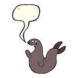 Cartoon happy seal with speech bubble Royalty Free Stock Photos