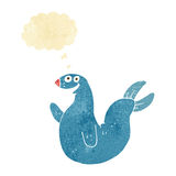 Cartoon happy seal with thought bubble Stock Photography