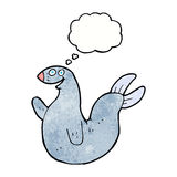 Cartoon happy seal with thought bubble Royalty Free Stock Images