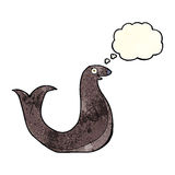 Cartoon happy seal with thought bubble Royalty Free Stock Photo