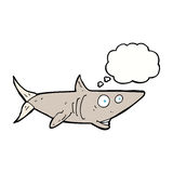 cartoon happy shark with thought bubble Royalty Free Stock Photos