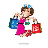 Cartoon Happy Shopper Girl. Cartoon shopper girl jump excitedly while carrying a lot of shopping bags Royalty Free Stock Image