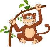 Cartoon happy smile monkey hanging Royalty Free Stock Photography