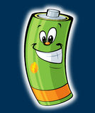 Happy cartoon battery Stock Photos