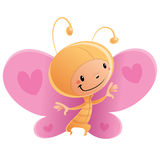 Cartoon happy smiling kid wearing funny carnival butterfly costu. Cartoon vector illustration with happy smiling child in funny pink and orange butterfly suit Stock Photos