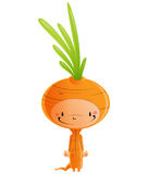 Cartoon happy smiling kid wearing funny carnival carrot costume. Cartoon vector illustration with cheerful smiling kid in funny orange and green carot suit with Stock Photo