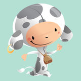 Cartoon happy smiling kid wearing funny carnival cow costume. Cartoon vector illustration with cheerful smiling kid in funny white and grey cattle suit with tail Royalty Free Stock Photo