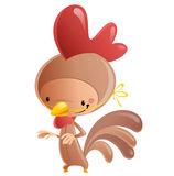 Cartoon happy smiling kid wearing funny carnival rooster costume Royalty Free Stock Photography
