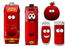 Cartoon happy smiling pomegranate juice characters Stock Images
