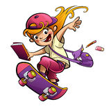 Cartoon happy smiling student girl with skateboard going to scho. Cartoon blonde pupil girl doing sports with skateboard dressed with pink purple and red clothes Stock Photo