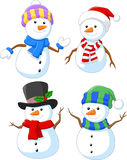 Cartoon happy snowman collection set Stock Photography