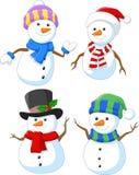 Cartoon happy snowman collection set. Illustration of Cartoon happy snowman collection set royalty free illustration