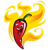 Cartoon happy spicy red chilly hot pepper vector illustration ch. Extremely super hot red chilli paprika cartoon pepper smiling anthropomorphic character Stock Image