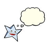 Cartoon happy star character with thought bubble Royalty Free Stock Photo