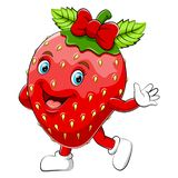 A cartoon happy strawberry character royalty free illustration