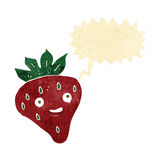 Cartoon happy strawberry with speech bubble Stock Images
