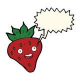 Cartoon happy strawberry with speech bubble Royalty Free Stock Image