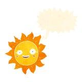 Cartoon happy sun with speech bubble Stock Photography