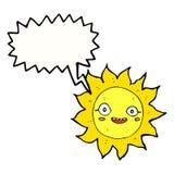 Cartoon happy sun with speech bubble Royalty Free Stock Photography