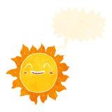 Cartoon happy sun with speech bubble Royalty Free Stock Photos