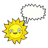 Cartoon happy sun with speech bubble Royalty Free Stock Image