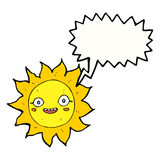 Cartoon happy sun with speech bubble Royalty Free Stock Images