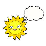 Cartoon happy sun with thought bubble Stock Photo