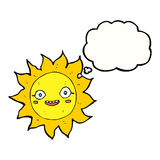 Cartoon happy sun with thought bubble Stock Photography