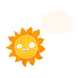 Cartoon happy sun with thought bubble Royalty Free Stock Photo