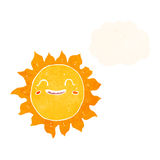 Cartoon happy sun with thought bubble Royalty Free Stock Images